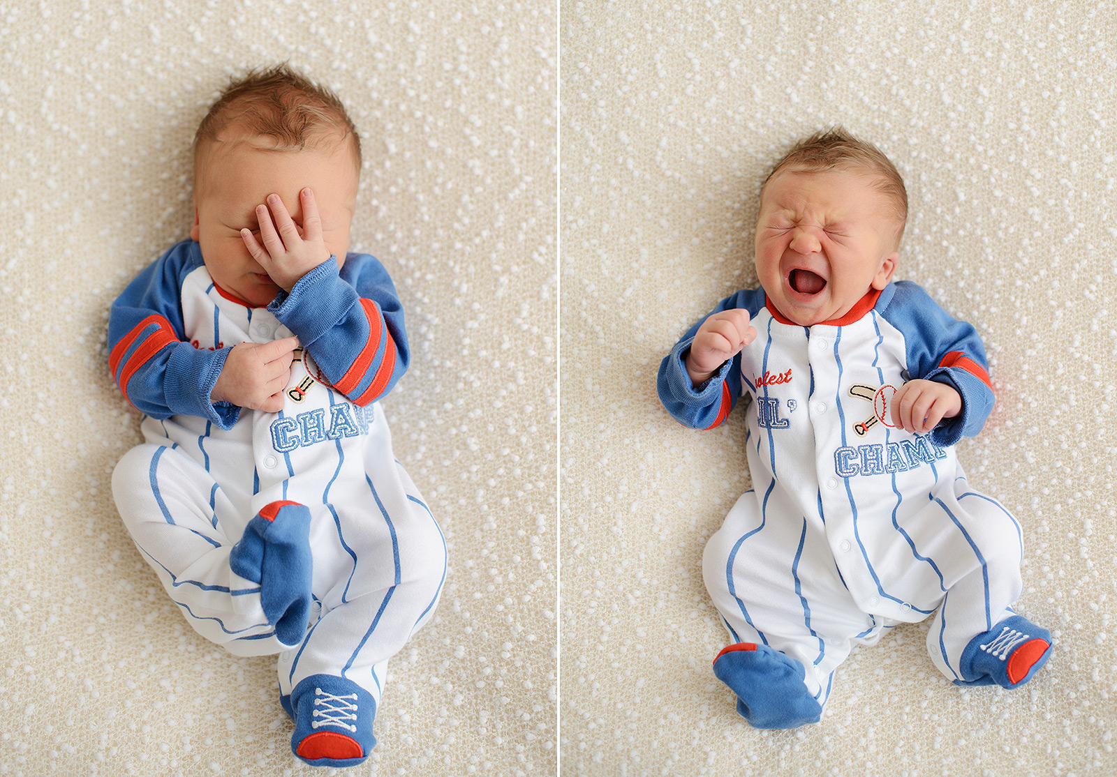 Newborn baby boy crying in baseball outfit