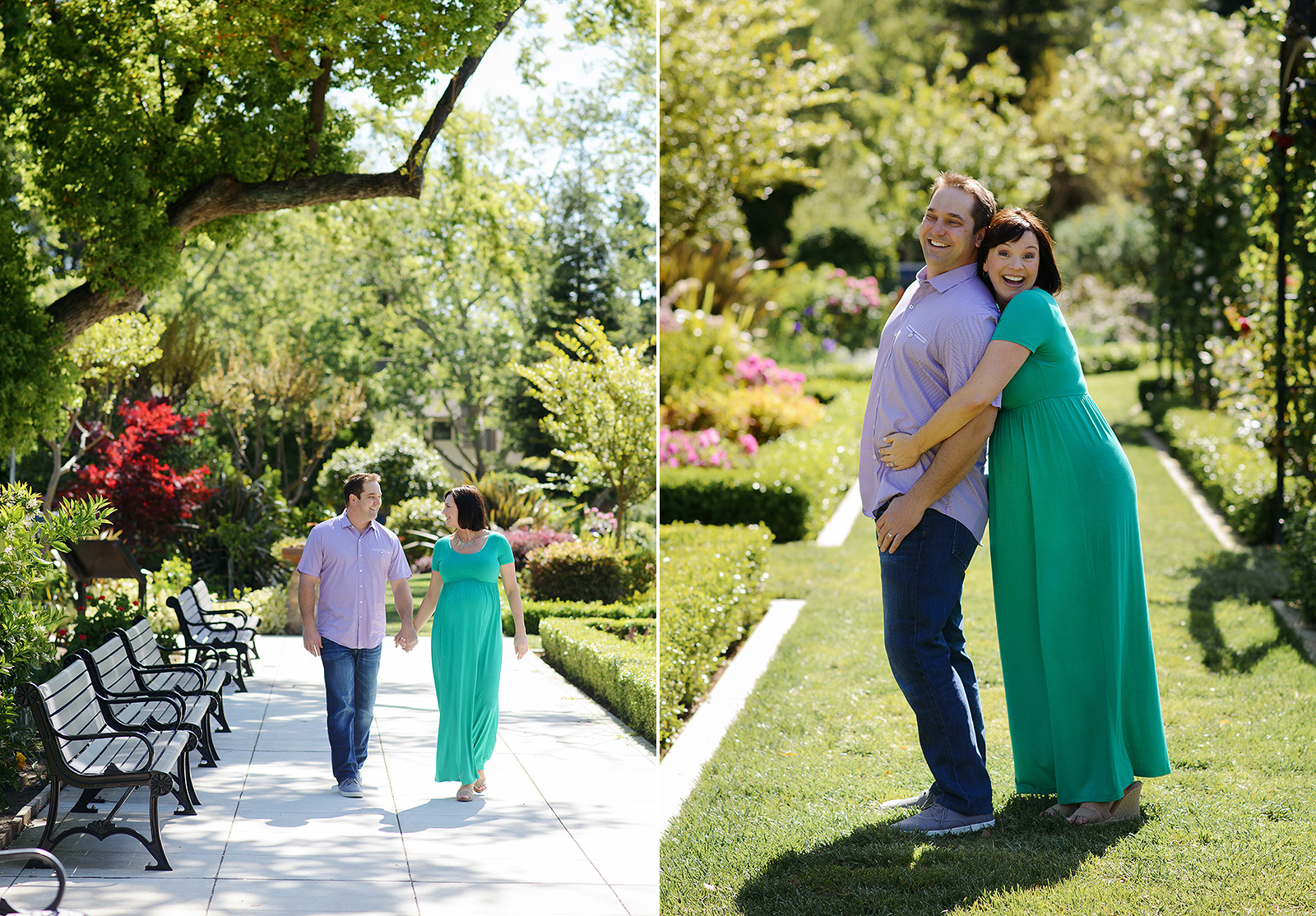 Pregnant couple walking and hugging outside on green lawn and background with trees