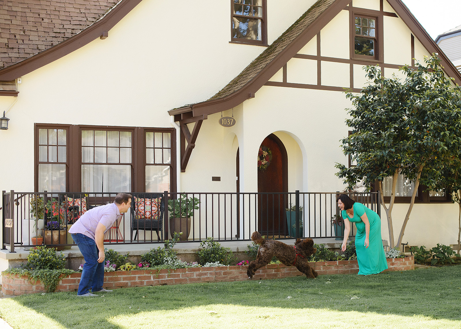 Maternity photos with dog running on front lawn