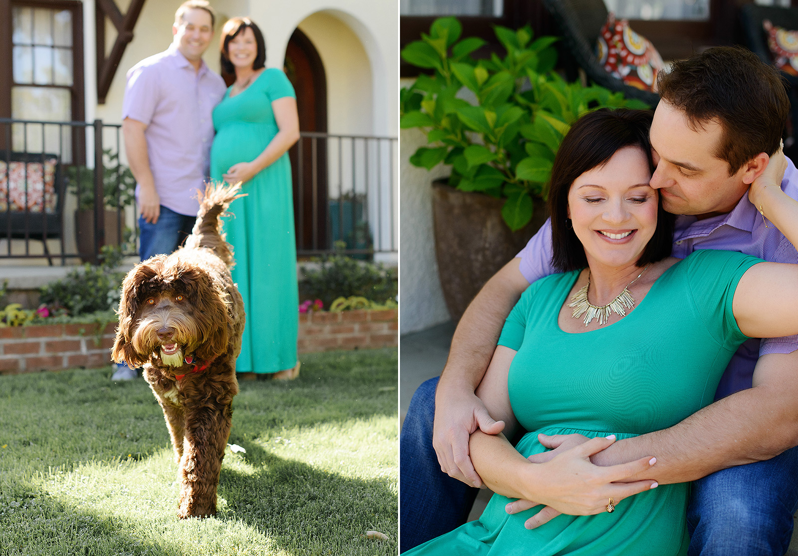 Pregnant couple looking at happy family dog