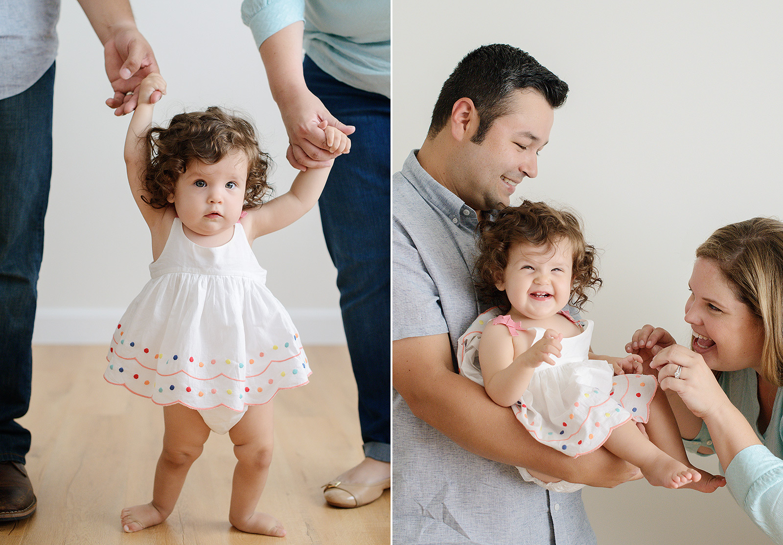 Baby Girl with Curly Hair Being Held by Dad