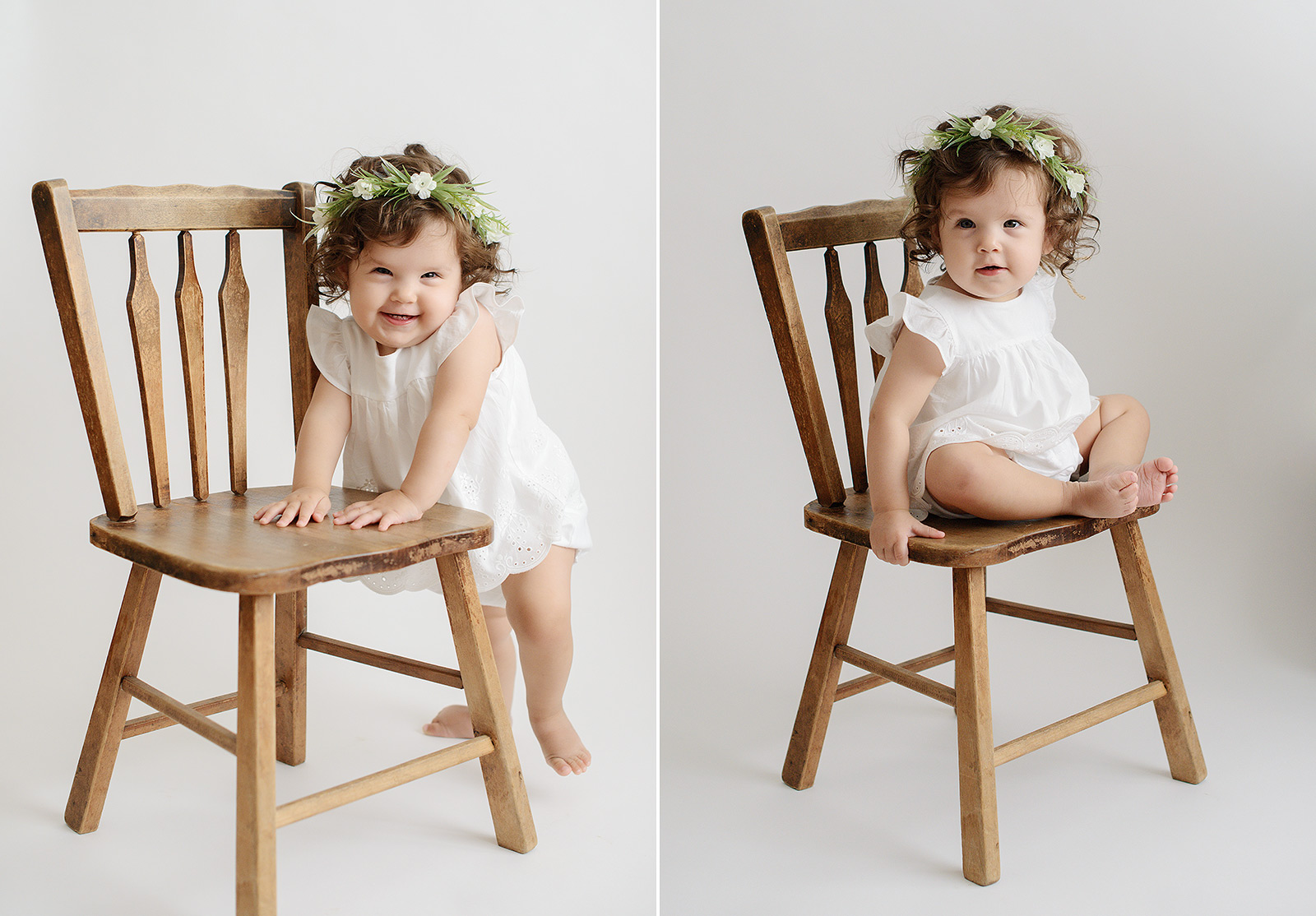 Baby Girl with Flower Crown Sitting and Standing on Wooden Chair