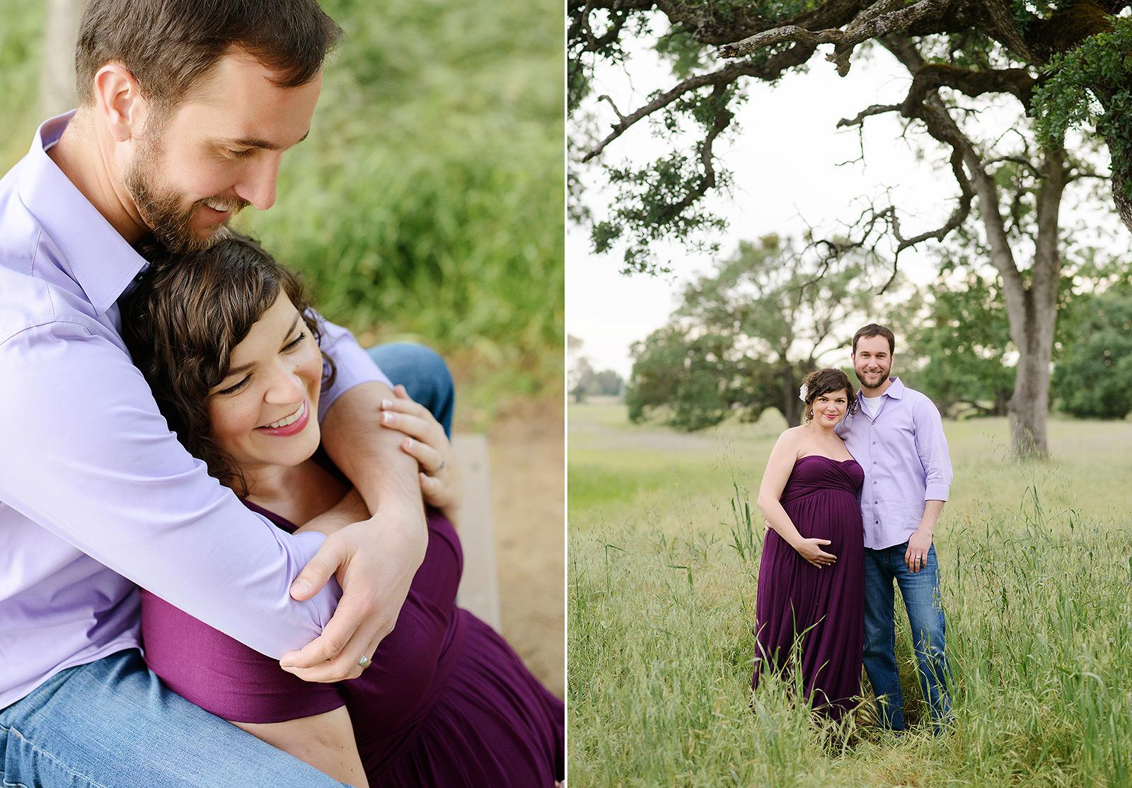 Couple maternity photos wearing purple dress in Folsom