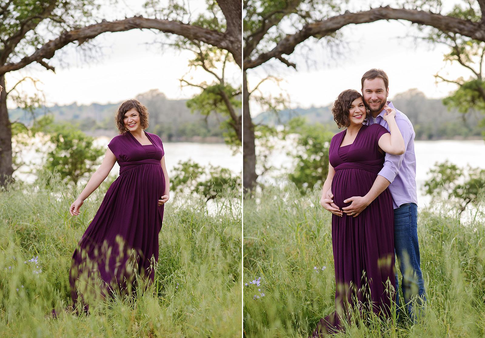Maternity photos in purple dress in green field in Folsom