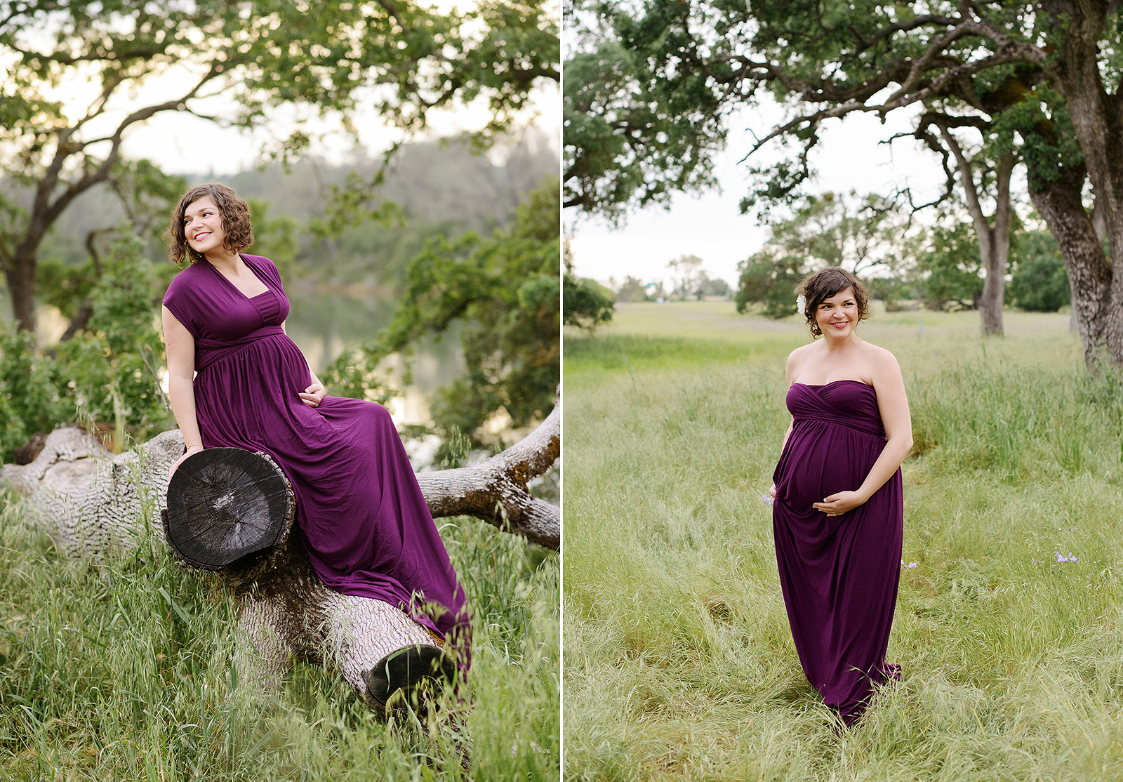 Maternity photos in green grassy field and fallen tree log in Folsom