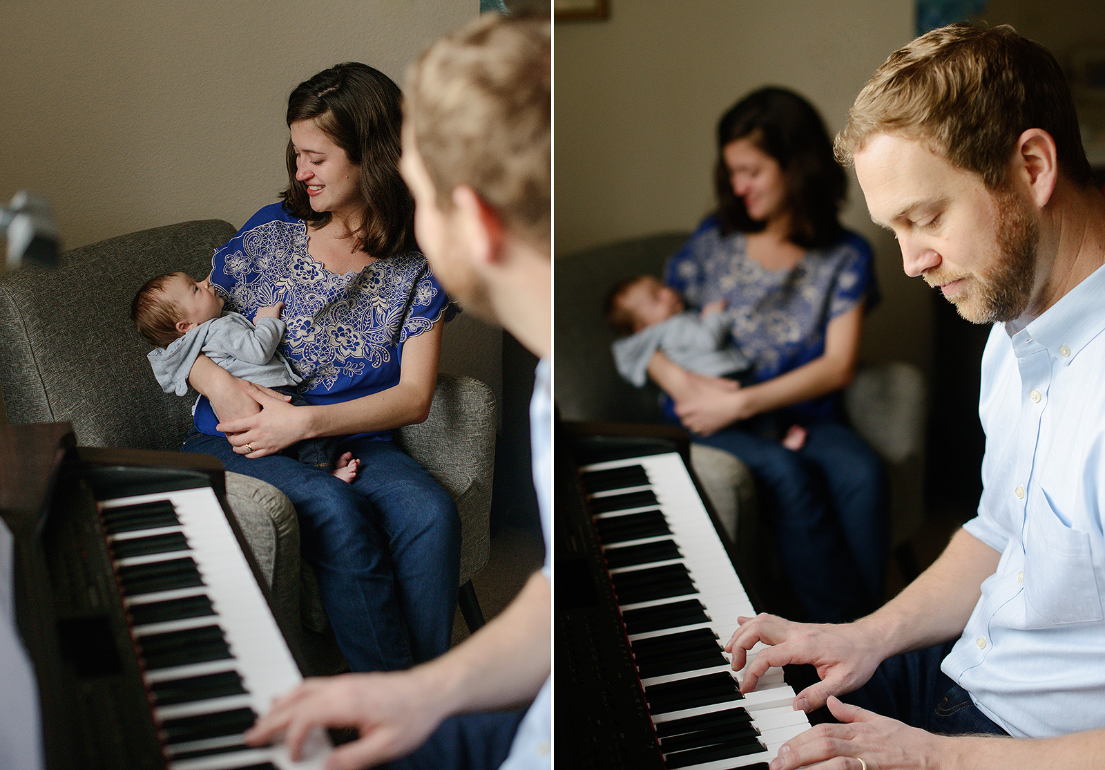 Dad plays the piano for newborn baby and mom
