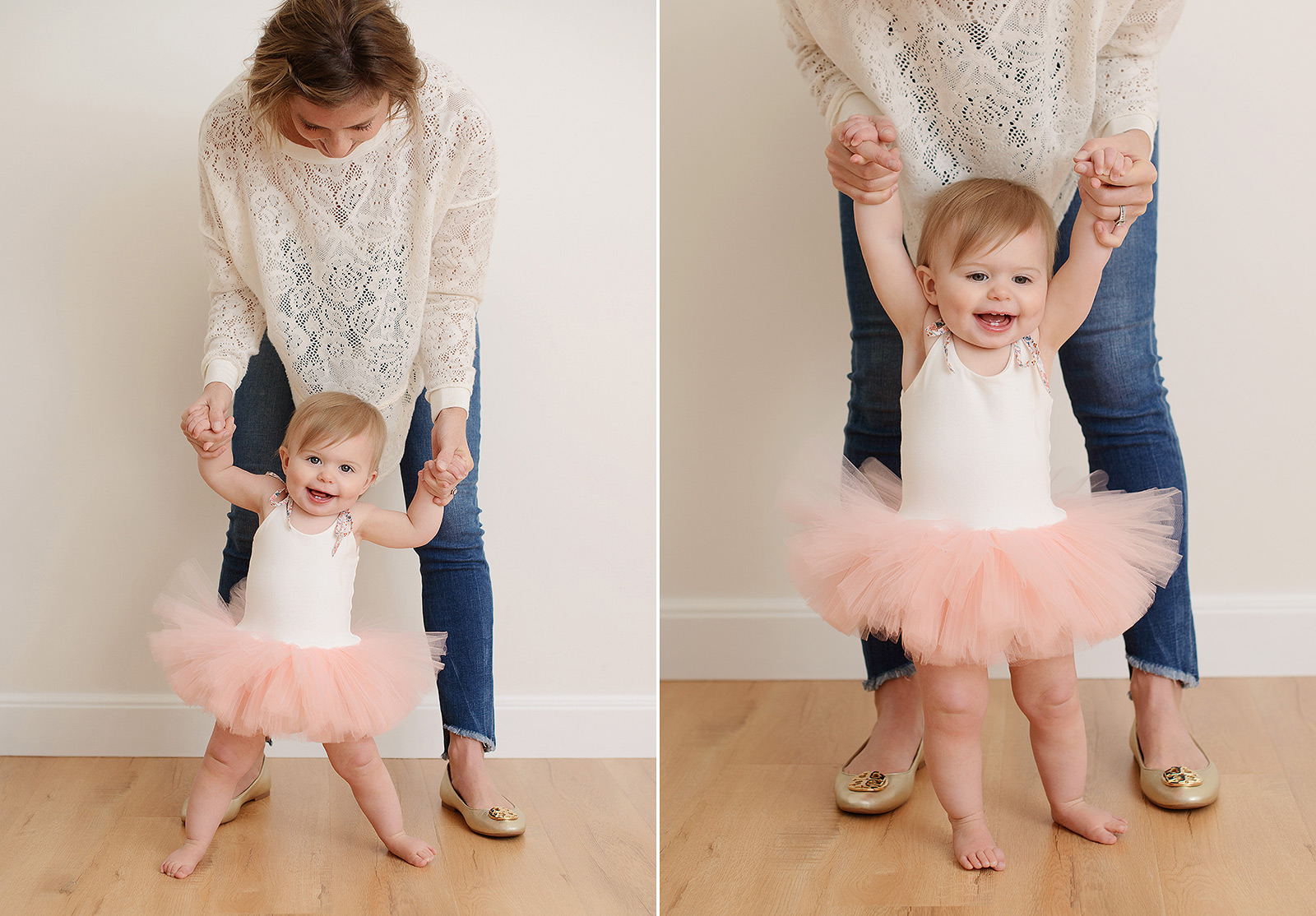 Mom holding baby girl in tutu up to standing in Sacramento photography studio
