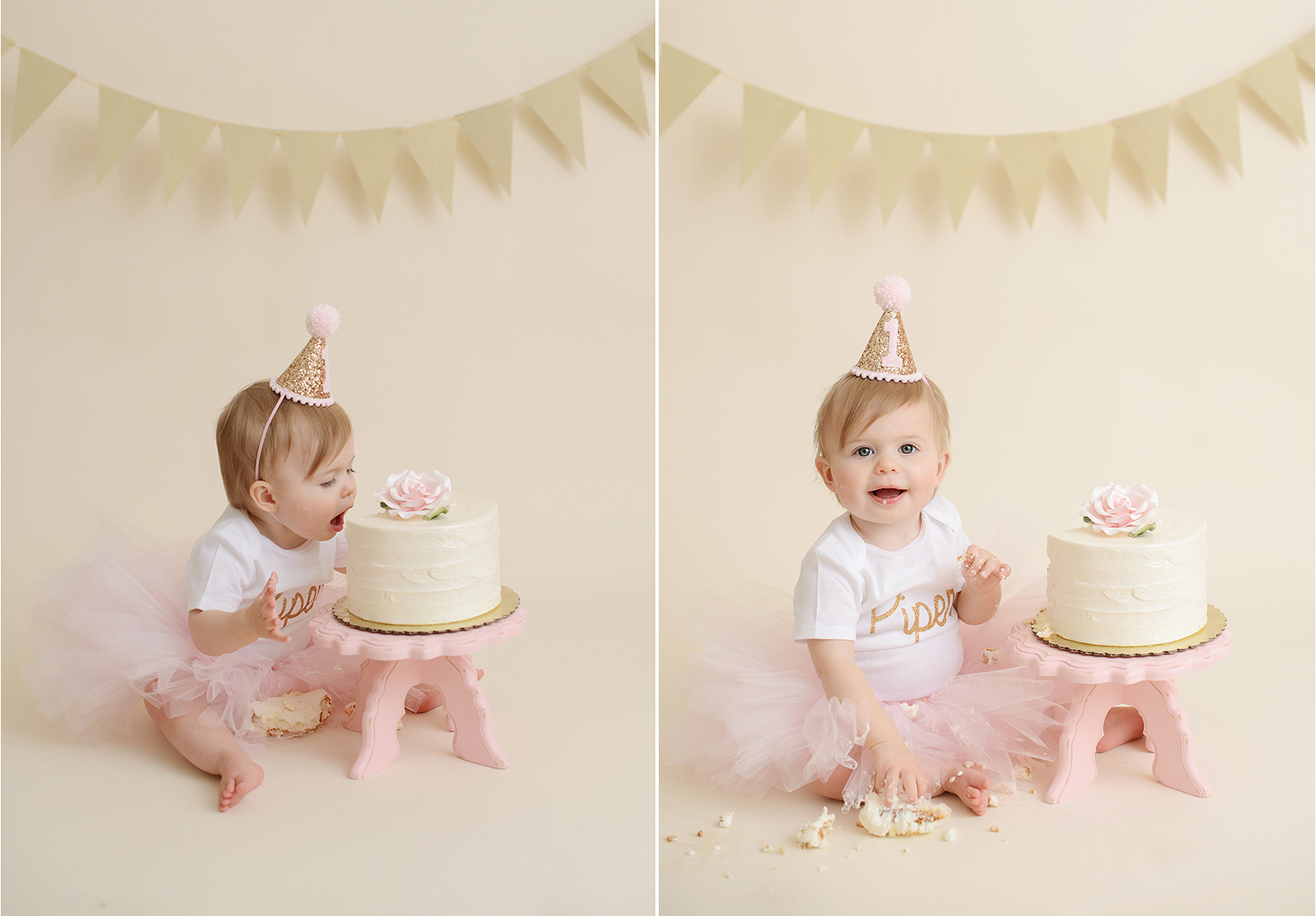 Baby girl wearing pink tutu diving face first into cake against gold bunting