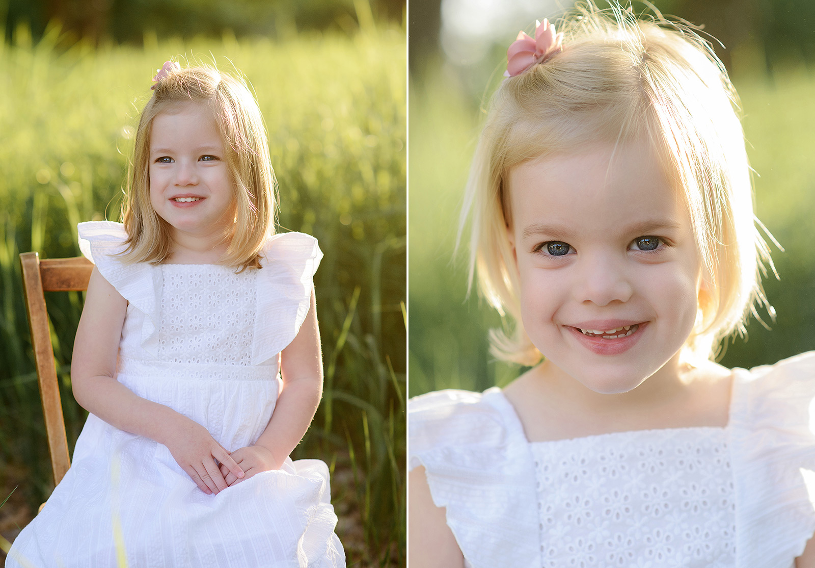 Daughters in white dresses smiling in grassy field during Spring in Sacramento