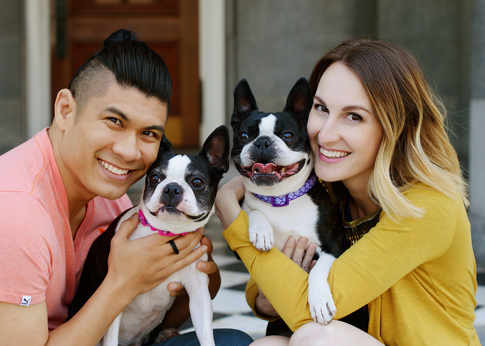 Colorful couple photo with their Boston Terriers at the Sacramento State Capitol