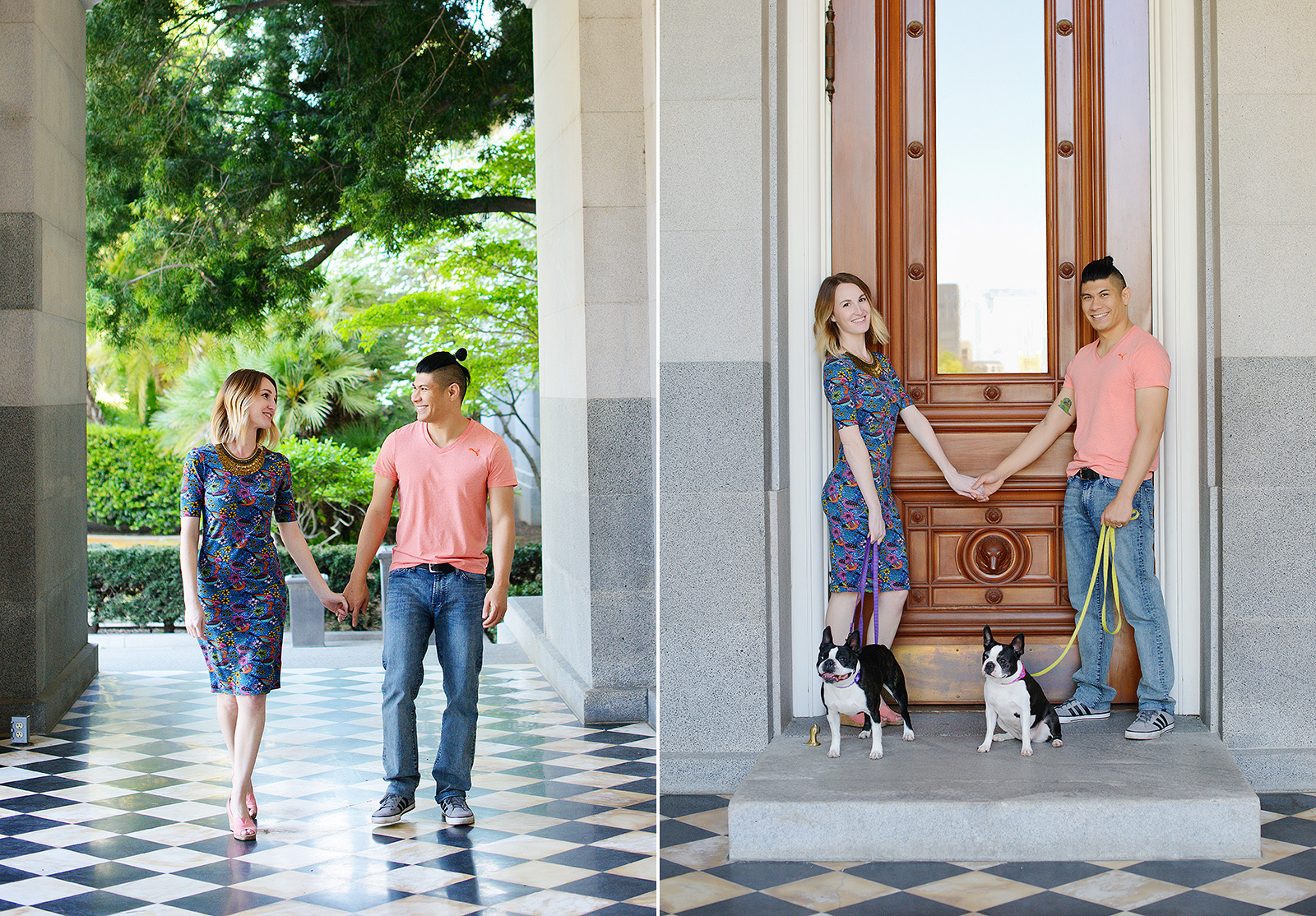 Couple photo session with their Boston Terriers in front of Sacramento State Capitol