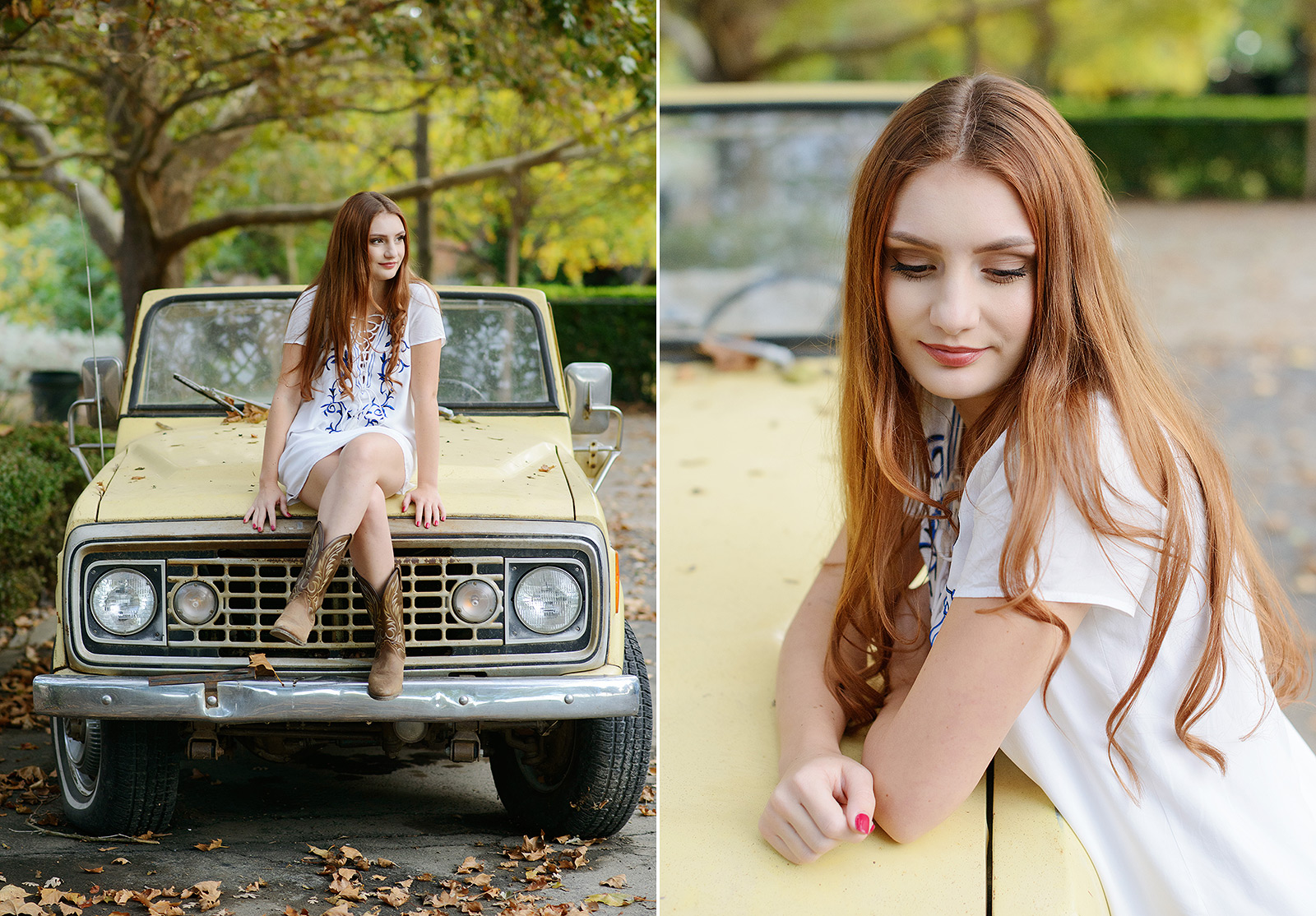 Senior Girl in Tunic and Cowboy Boots Sitting on Vintage Yellow Car in Sacramento
