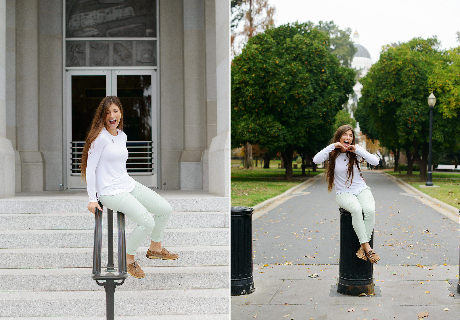 Senior girl sitting on stair rails in Sacramento State Capitol