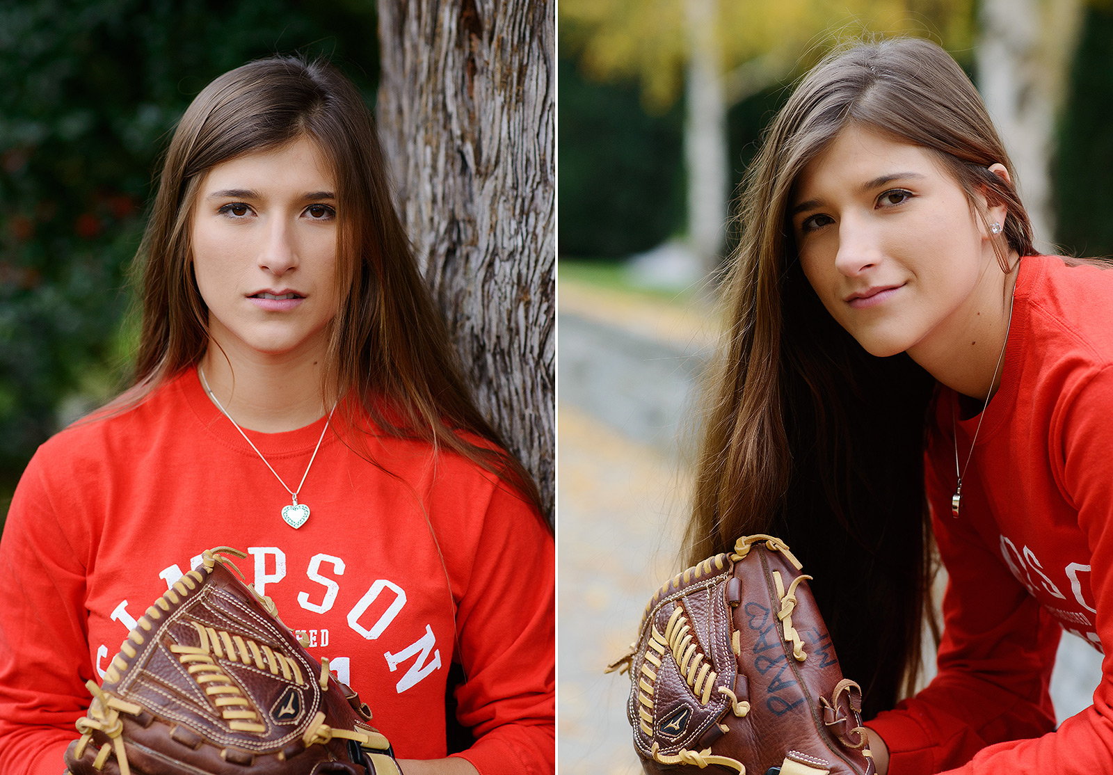 Senior girl portrait with softball mitt in Sacramento