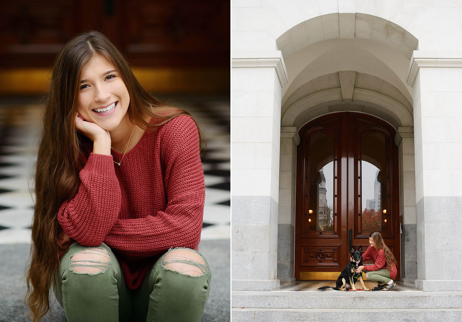 Senior portrait of teen girl with German Shepherd on black and white tile at Sacramento Capitol