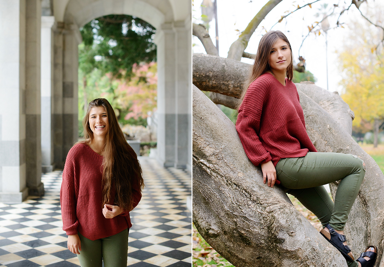 Senior portrait of teen girl in red sweater in State Capitol and outdoors on tree