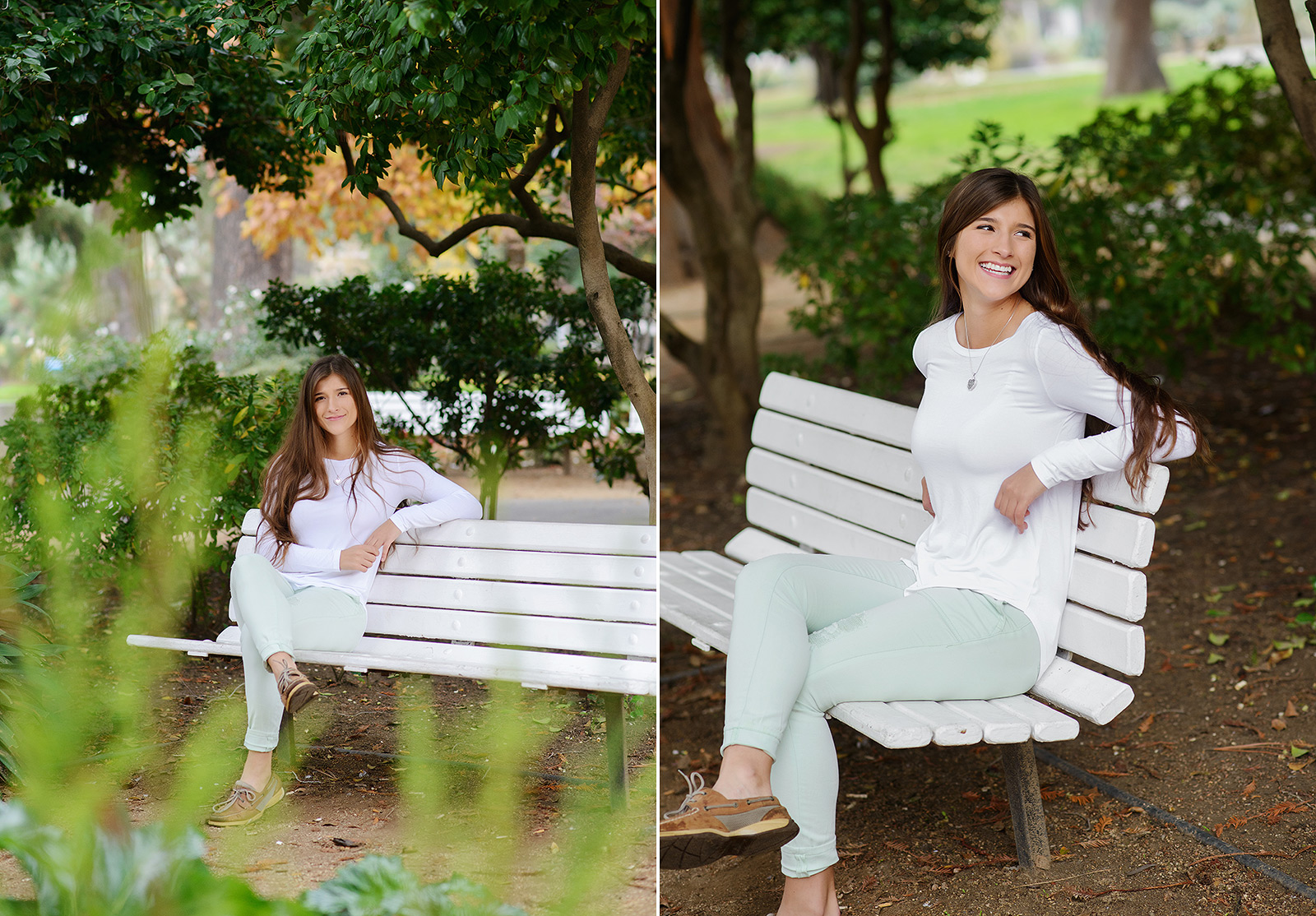 Senior portraits sitting on white bench in Sacramento