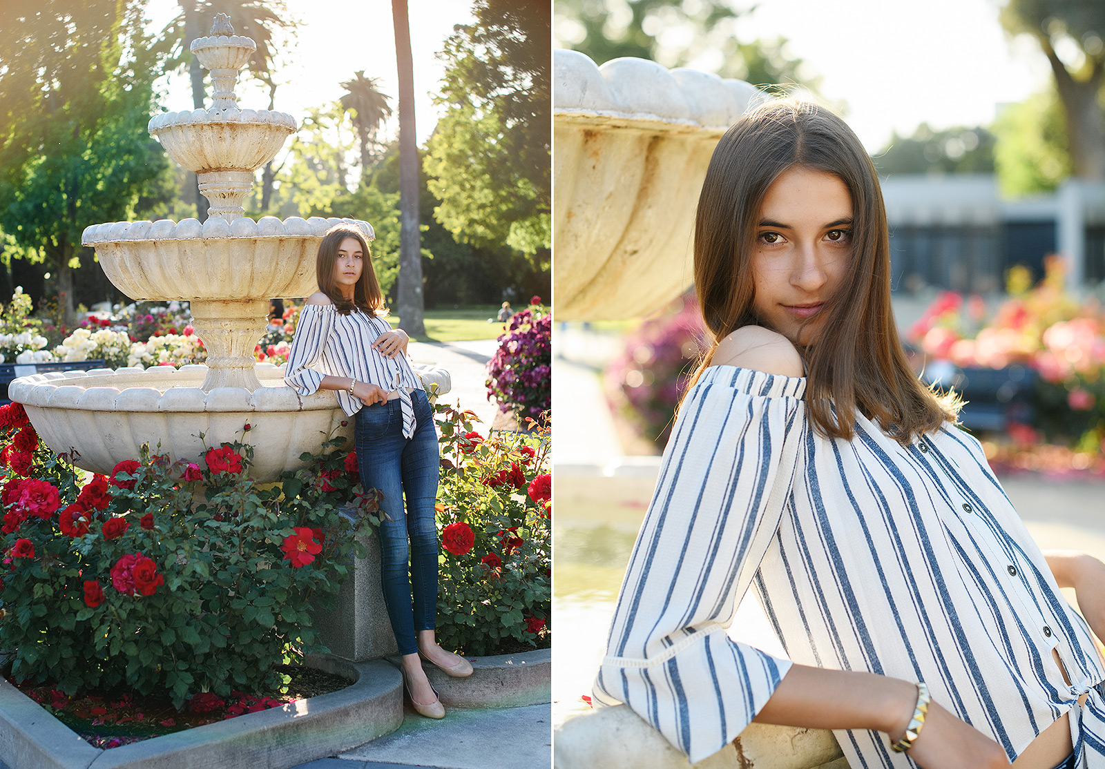 Senior portraits by fountain and red flowers at Sacramento State Capitol