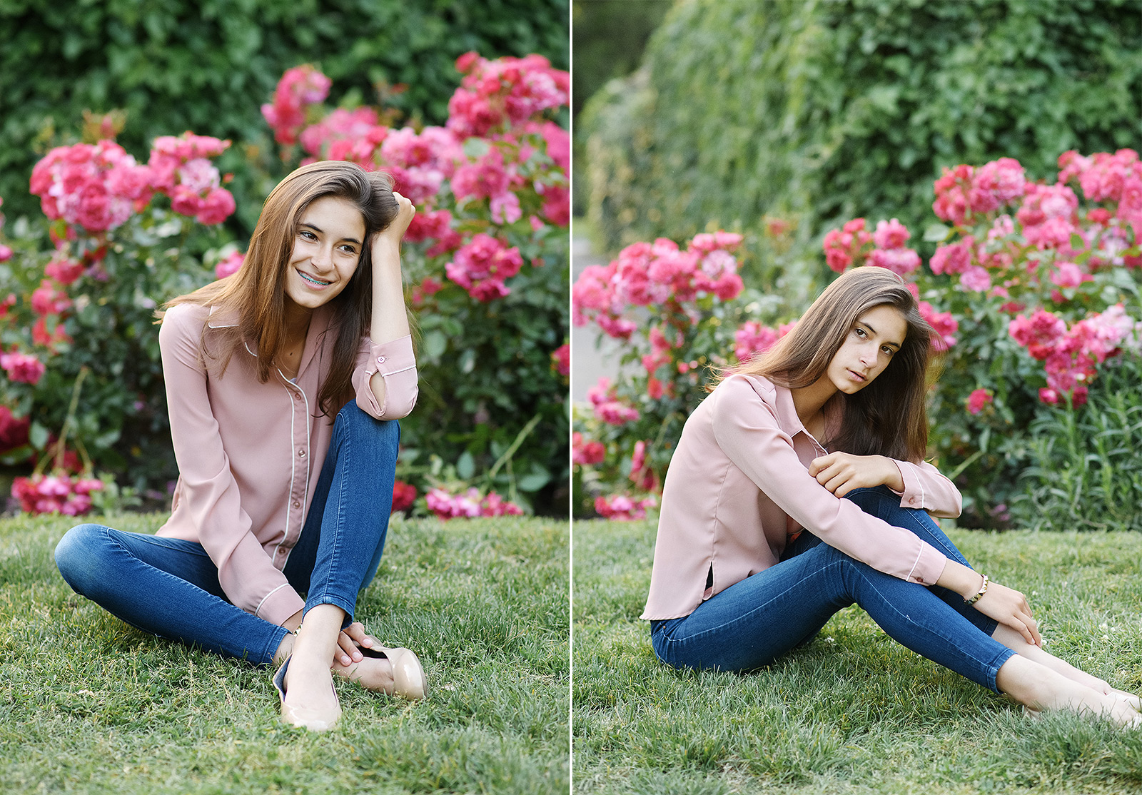 Senior girl sitting on grass with pink flowers in background in State Capitol