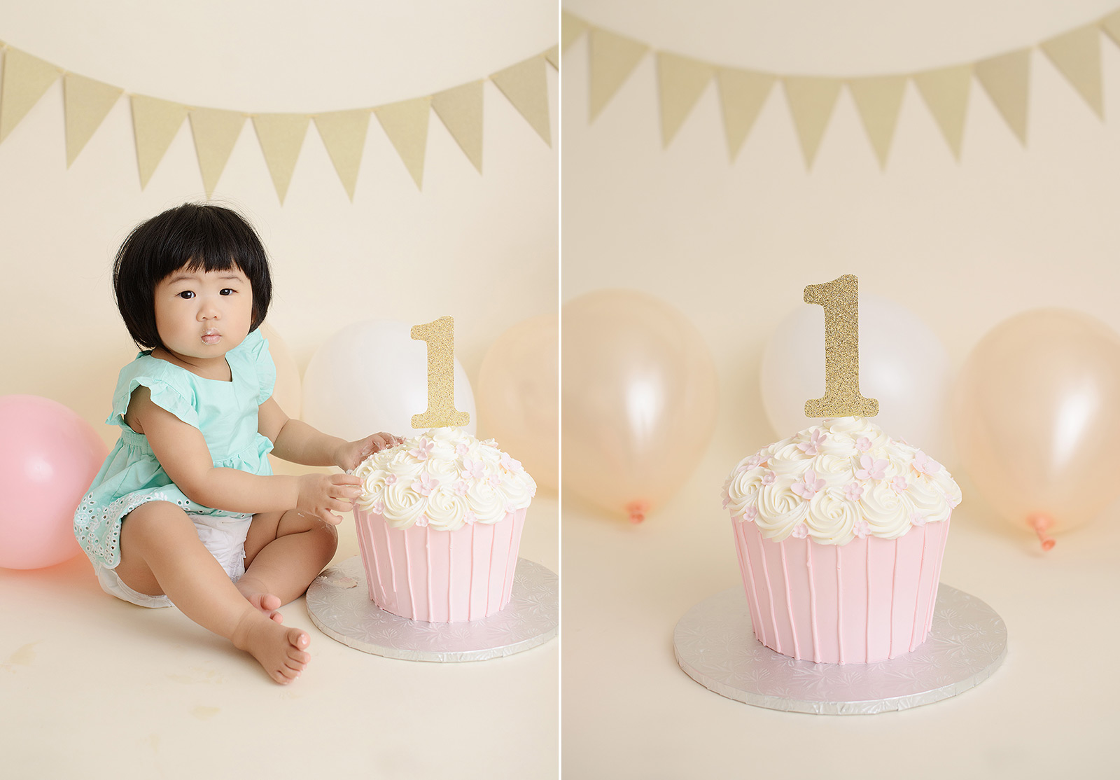 Baby girl with hands on pink giant cupcake cake smash session