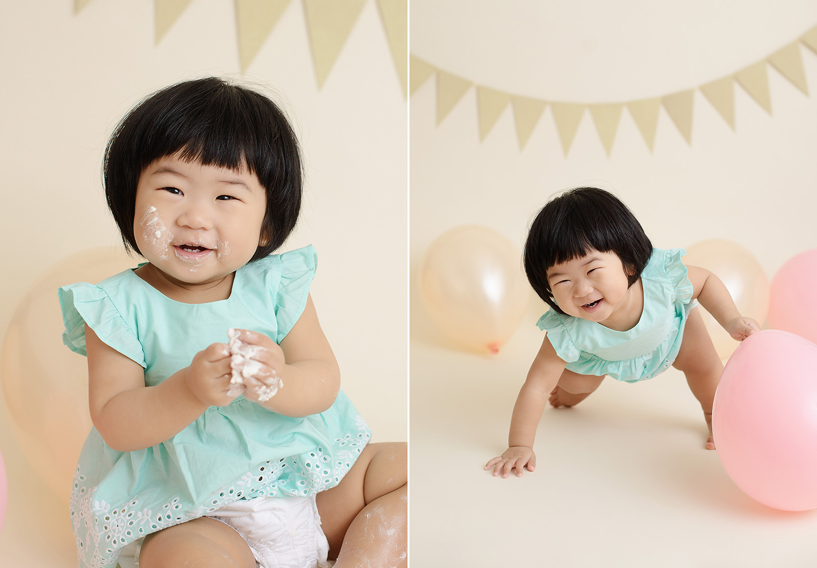 Baby girl laughing and playing with balloons and frosting during cake smash