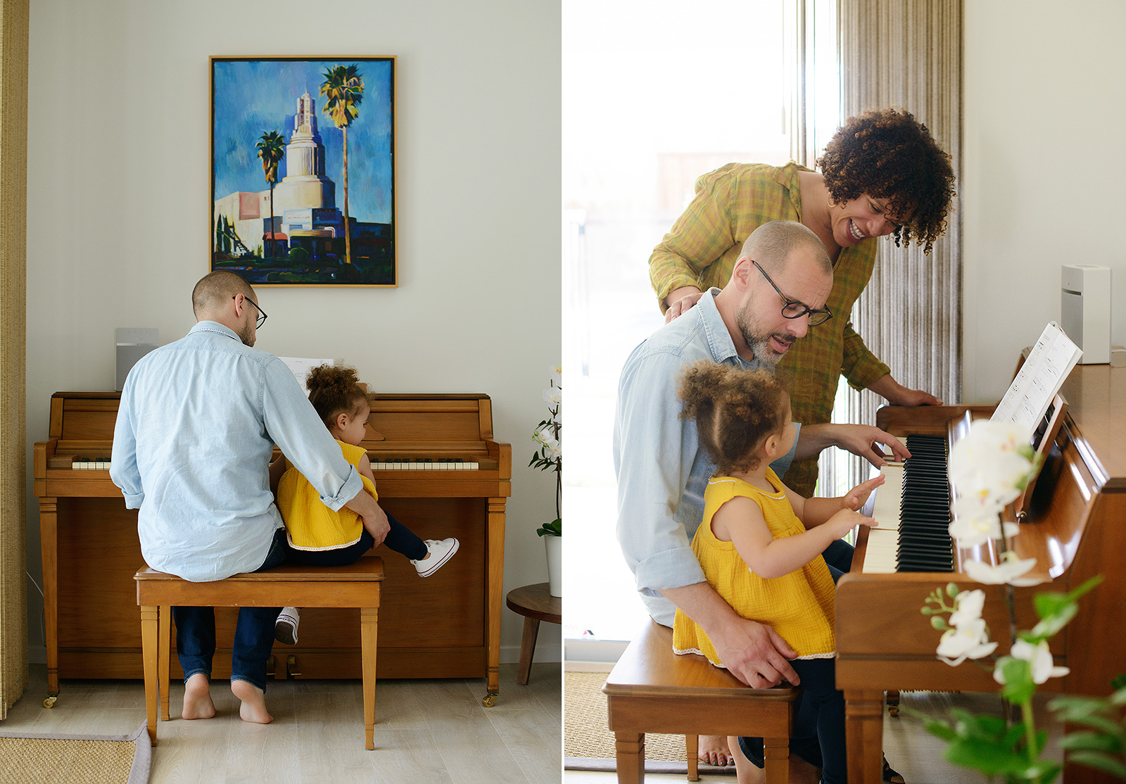 Mom and dad play piano with daughter wearing yellow in home