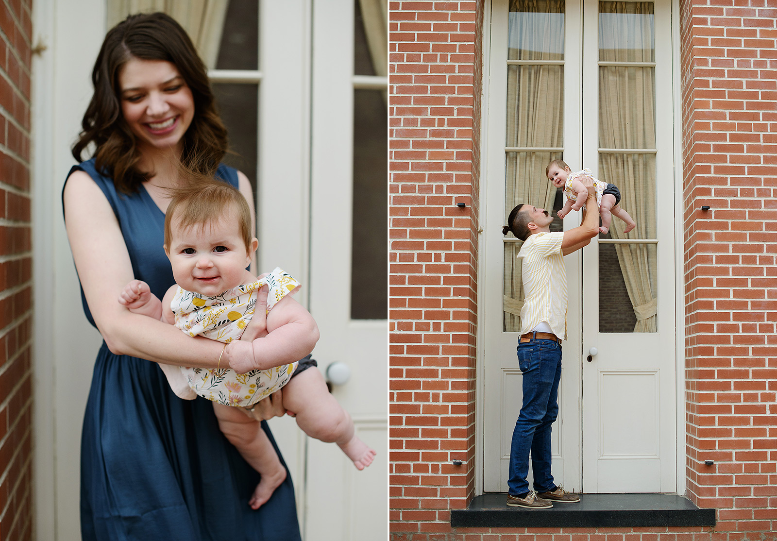 Mom and dad holding baby daughter in front of white doors and brick wall in Old Sacramento