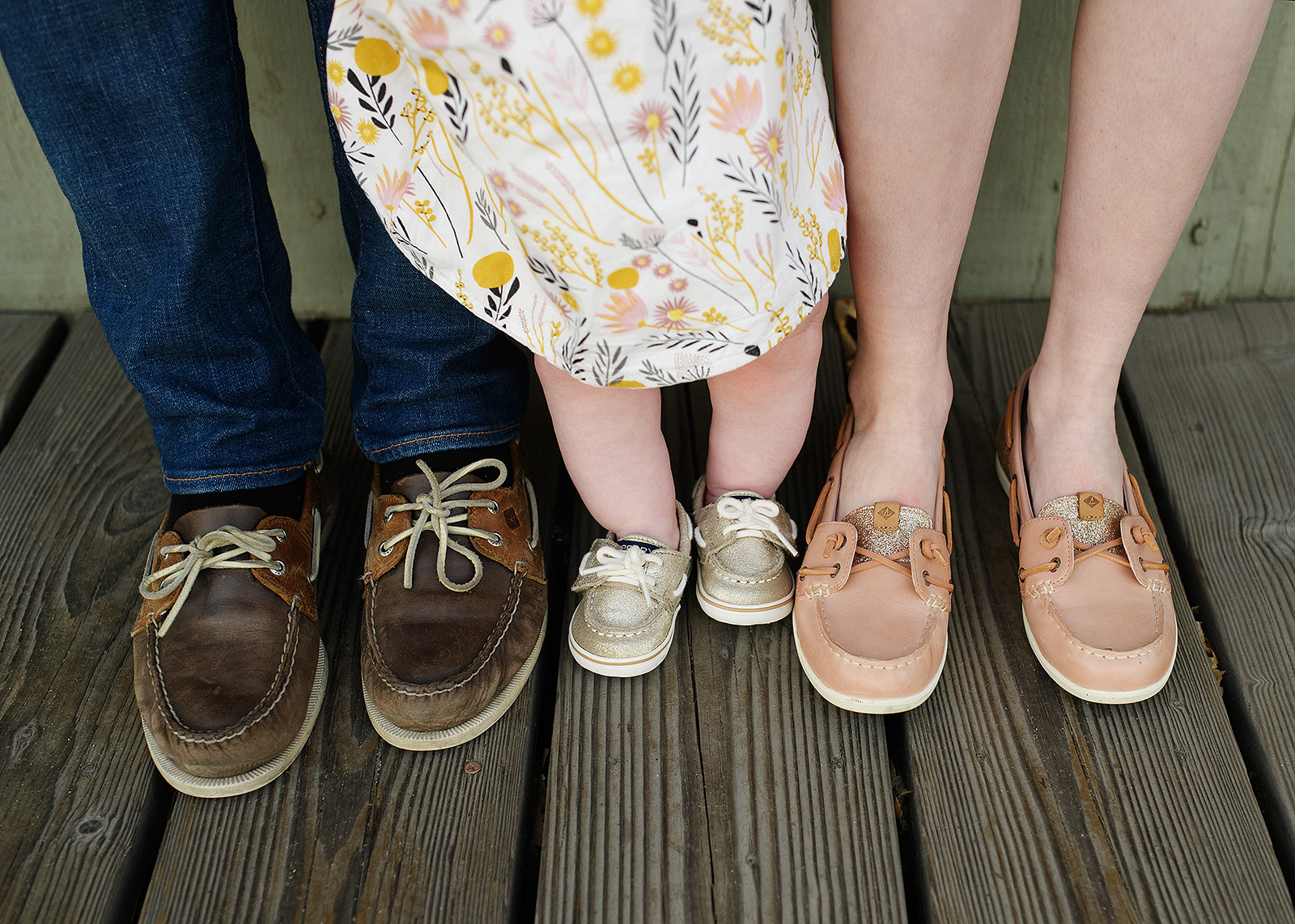 Family shoe photo wearing Sperry Topsiders boat shoes