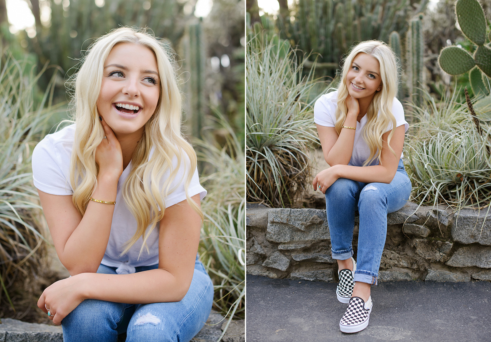 Senior portrait of blonde girl in jeans and sneakers sitting down at State Capitol outdoor cactus