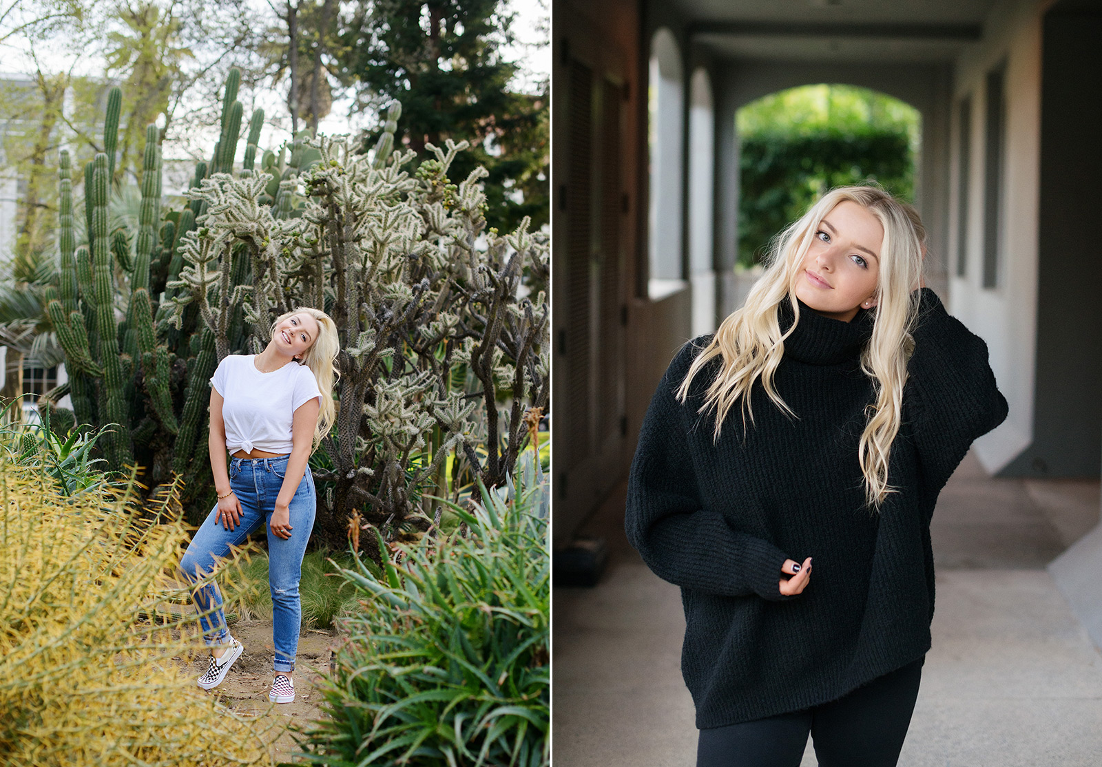 Senior portrait of blonde girl in cactus garden and State Capitol