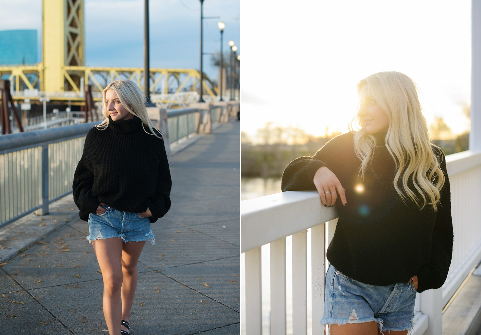 Senior portrait of teen girl wearing black turtleneck with Tower Bridge in background and sunset golden hour