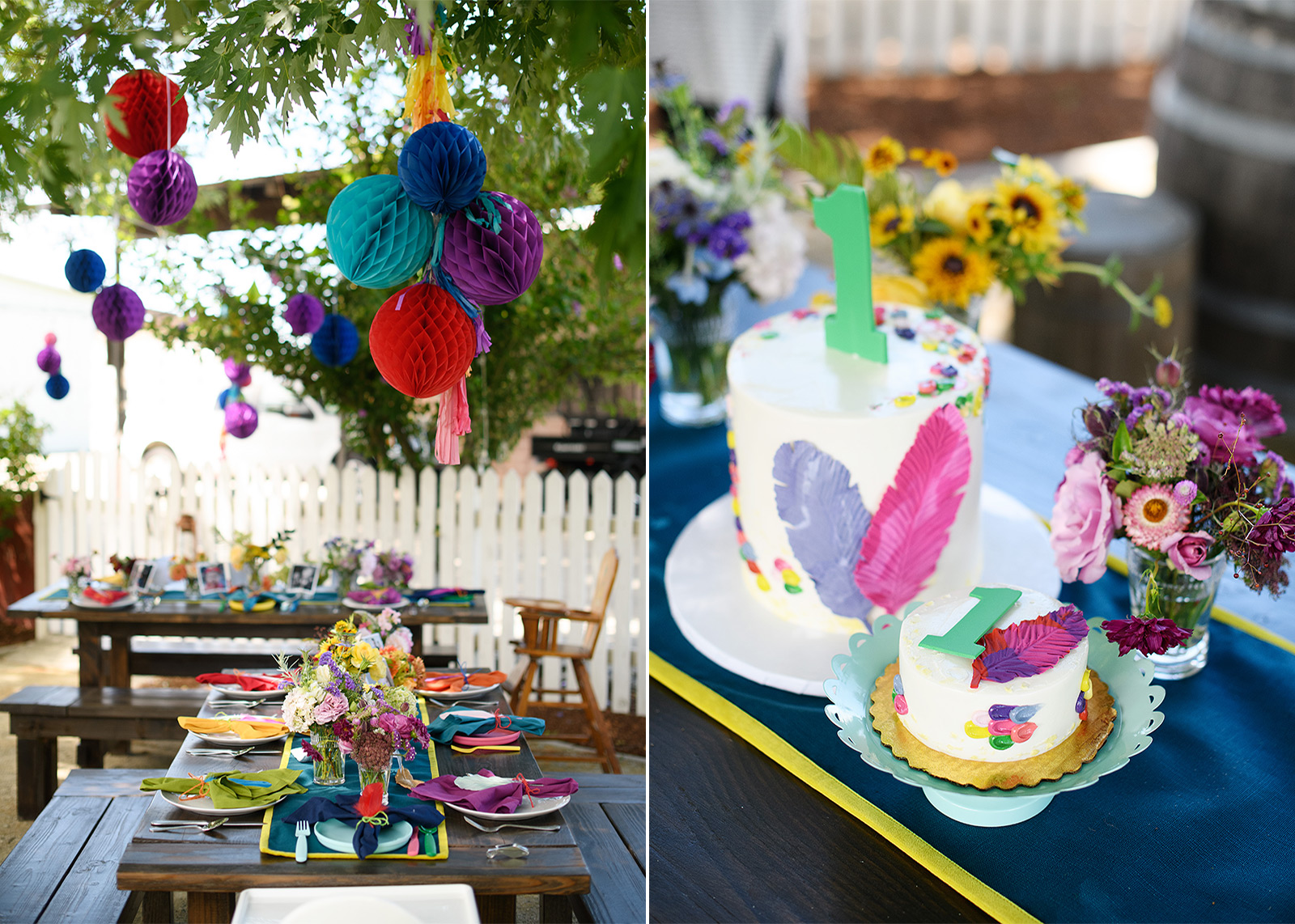 Colorful festive streamers and lanterns and 1st birthday cake with feathers