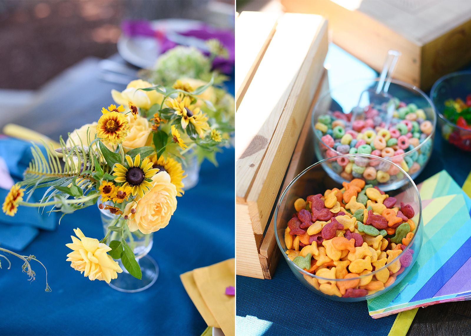 Sunflowers arrangement tablescape and rainbow goldfish and fruit loops first birthday party