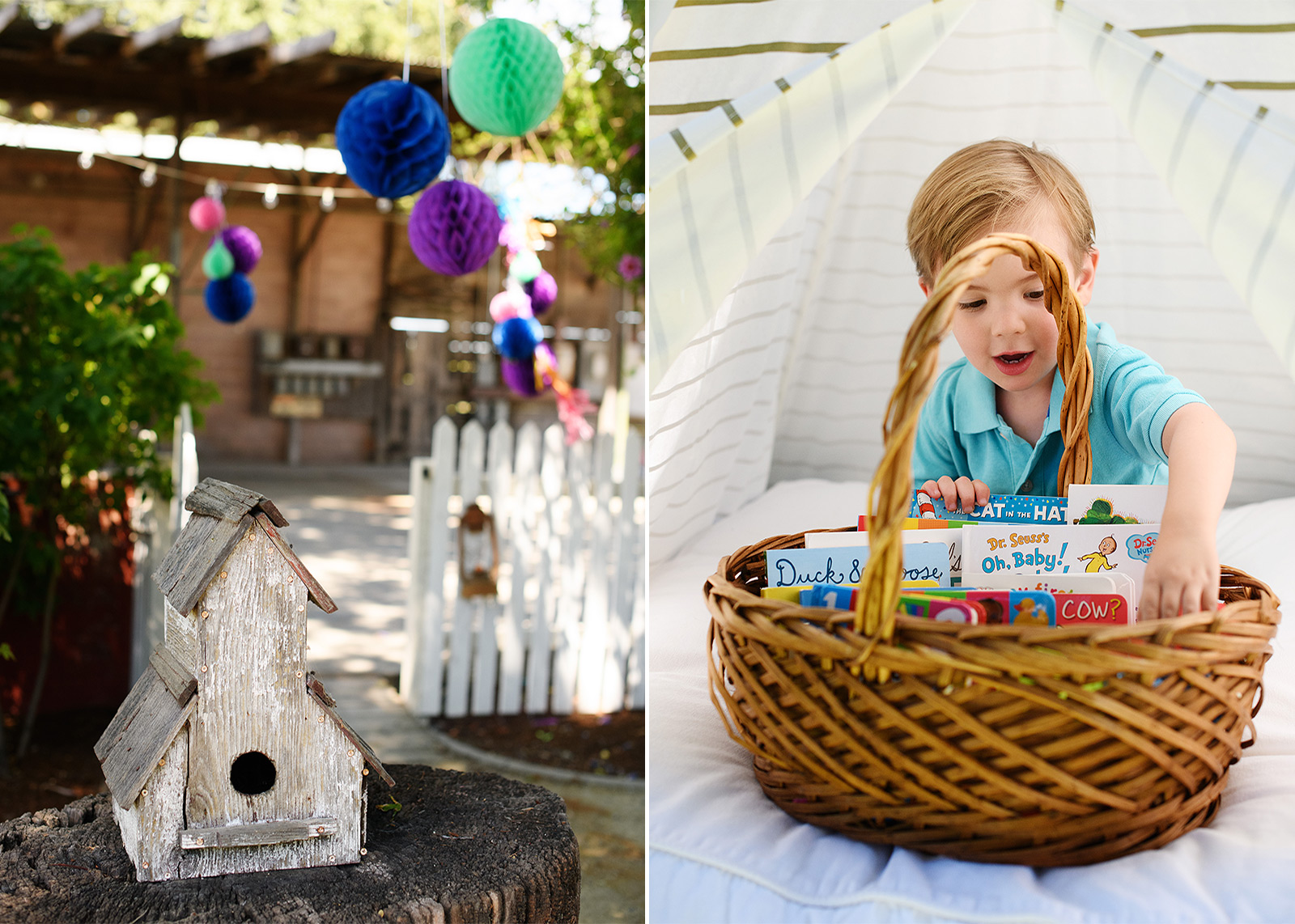 First birthday party details with colorful lanterns and books in a tent