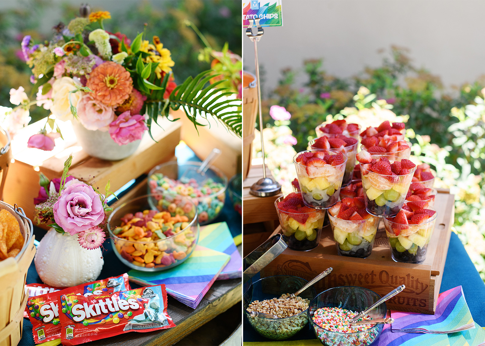 First birthday party rainbow food spread with skittles, goldfish, sprinkles, fruits, cereal