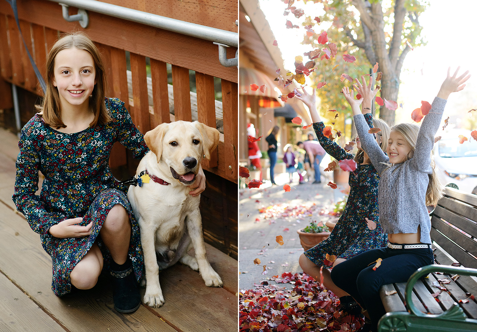 Daughters playing with fall foliage leaves in Saratoga with yellow labrador