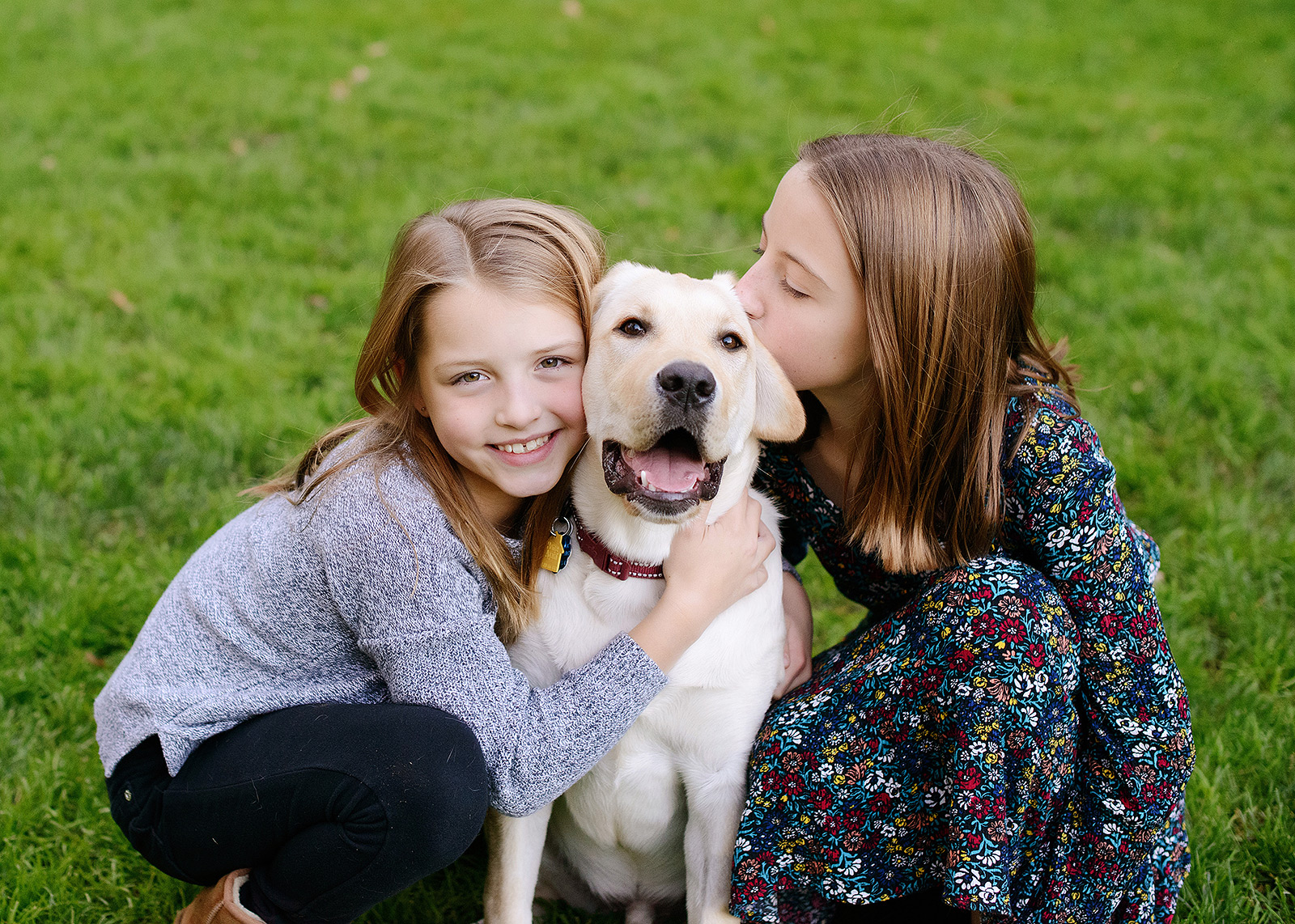 Sisters kissing yellow labrador dog outdoors in Saratoga