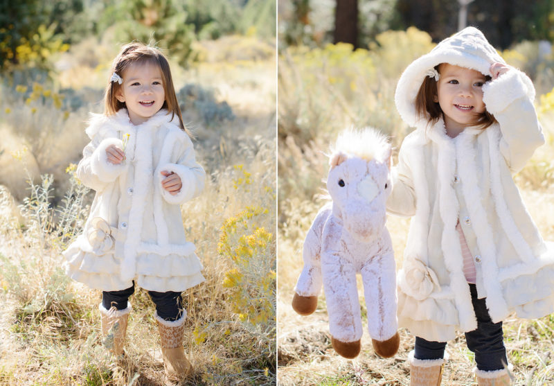 Daughter dressed in boots and coat with horse toy in golden grass in Nevada