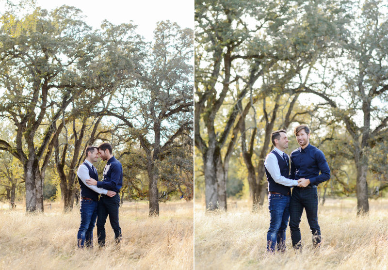 Gay couple hugging and holding hands in golden grass in Roseville
