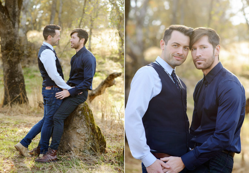 Gay couple laughing and embracing during engagement shoot in Roseville