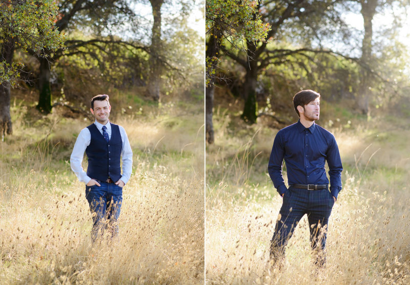 Gay males posing in golden grass in Roseville wearing blue ties and vests
