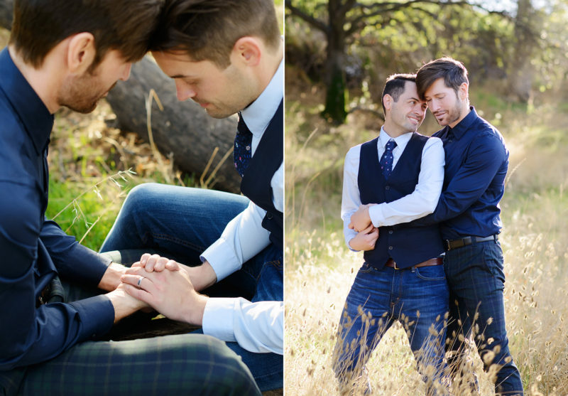 Gay LGBT couple holding hands and embracing with engagement ring detail in Roseville