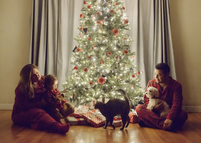 Family in matching pajamas sitting around Christmas tree with cat and dog