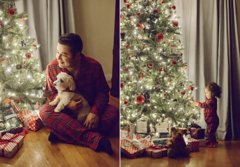 Father and dog snuggling near Christmas tree while daughter reaches for Christmas tree ornament