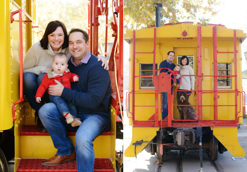 Family posing on yellow train in Old Sacramento