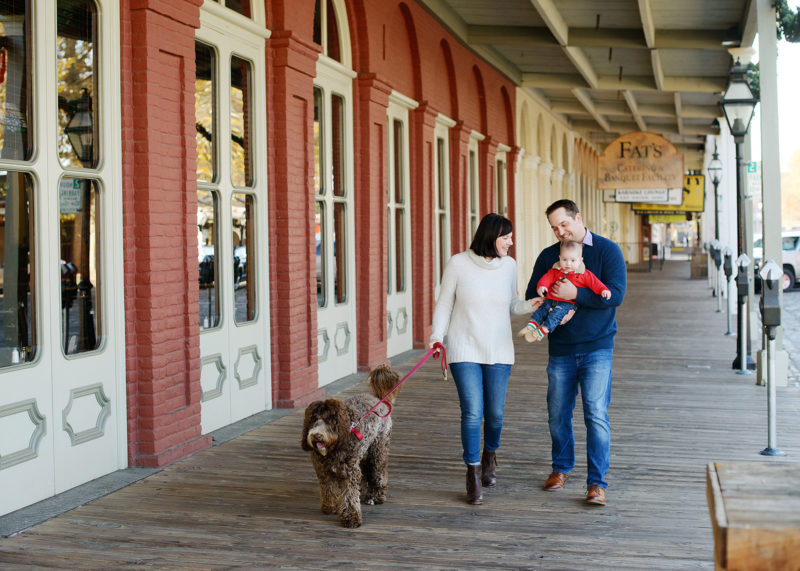 Family walking with dog at Old Town Sacramento