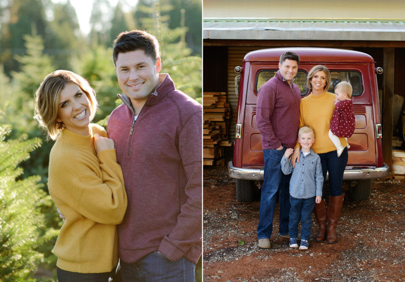 Mom and dad posing in front of pine trees and family photo in front of vintage red truck in Apple Hill