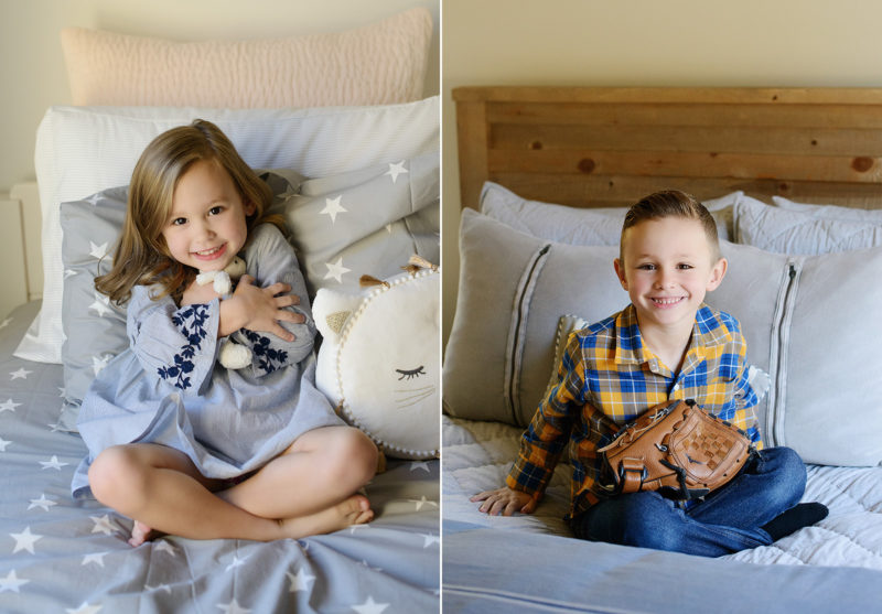 Sister hugging stuffed animal while brother holds baseball mitt in bedroom in Sacramento