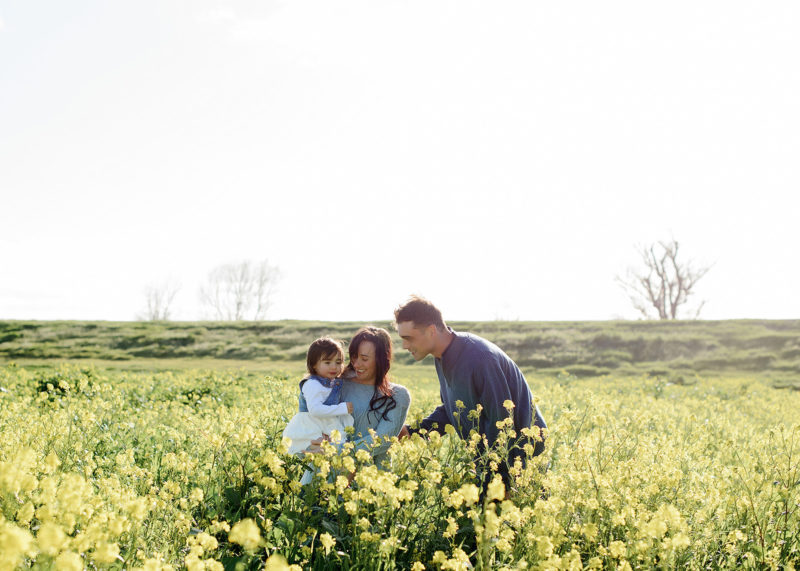 Family photos in middle of yellow wildflower field in West Sacramento