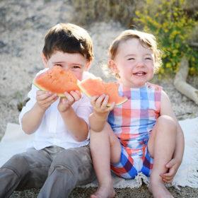 folsom lake beach watermelon eating brothers